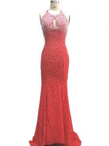 High Class Red Column/Sheath Halter Top Sleeveless Chiffon Brush Train Criss Cross Beading Formal Evening Gowns