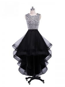 Top Selling Black Zipper Scoop Beading and Ruffles Prom Gown Tulle Sleeveless