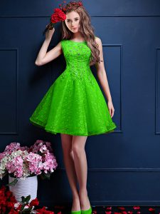 A-line Tulle Bateau Sleeveless Beading and Lace Knee Length Lace Up Court Dresses for Sweet 16