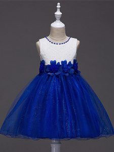 Royal Blue Scoop Neckline Lace and Hand Made Flower Juniors Party Dress Sleeveless Zipper