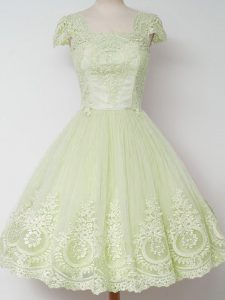Yellow Green Tulle Zipper Quinceanera Court Dresses Cap Sleeves Knee Length Lace