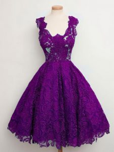 Superior Sleeveless Lace Knee Length Lace Up Quinceanera Court Dresses in Purple with Lace
