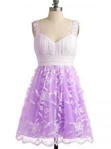 Beauteous Lace Sleeveless Knee Length Dama Dress for Quinceanera and Lace
