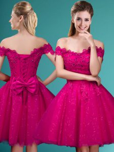 New Arrival Fuchsia Off The Shoulder Lace Up Lace and Belt Court Dresses for Sweet 16 Cap Sleeves
