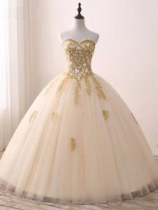 Champagne Ball Gowns Sweetheart Sleeveless Tulle Floor Length Lace Up Beading and Lace and Appliques 15th Birthday Dress