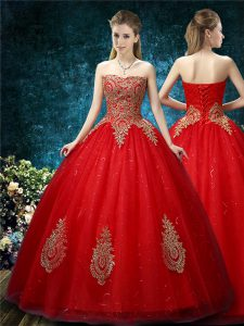 Comfortable Red Tulle Lace Up Wedding Gowns Sleeveless Floor Length Appliques