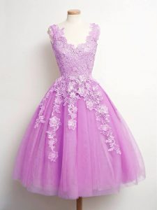 Captivating Lilac A-line V-neck Sleeveless Tulle Knee Length Lace Up Lace Vestidos de Damas