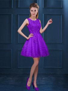 Perfect Purple A-line Scoop Sleeveless Tulle Knee Length Zipper Lace and Ruffled Layers Bridesmaid Dress