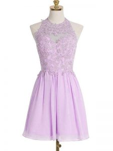 Designer Knee Length Lavender Dama Dress for Quinceanera Chiffon Sleeveless Appliques