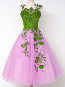 Cute Appliques Quinceanera Dama Dress Lilac Lace Up Sleeveless Knee Length