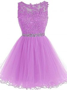 Mini Length A-line Sleeveless Lilac Prom Gown Lace Up