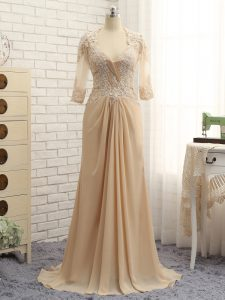 Classical Long Sleeves Beading and Lace and Appliques Zipper Mother of Bride Dresses with Champagne Brush Train