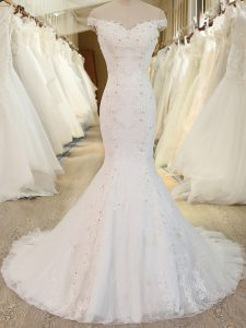 Spectacular Tulle Off The Shoulder Sleeveless Brush Train Zipper Beading and Appliques Wedding Dress in White