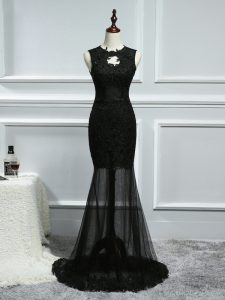 Best Selling Tulle Sleeveless Womens Evening Dresses Brush Train and Lace and Appliques