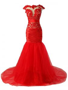 Amazing Scoop Cap Sleeves Tulle Evening Dress Lace and Appliques and Ruching Brush Train Zipper