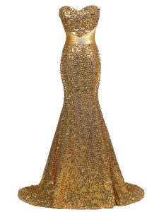 Traditional Gold Mermaid Sequined Sweetheart Sleeveless Sequins Lace Up Juniors Evening Dress Brush Train