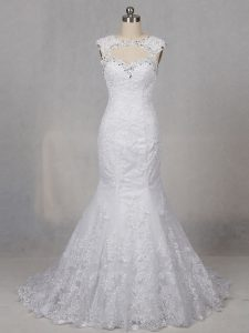 Best Backless Wedding Dress White for Wedding Party with Beading and Lace Brush Train