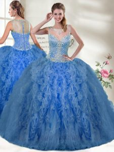 Scoop Sleeveless Zipper Vestidos de Quinceanera Blue Organza
