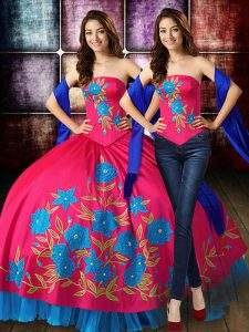 Taffeta Sleeveless Floor Length Sweet 16 Dresses and Embroidery