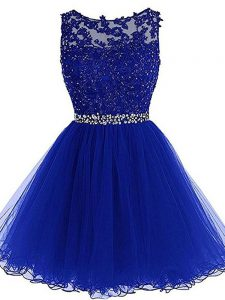 Beading and Lace and Appliques and Ruffles Prom Party Dress Royal Blue Zipper Sleeveless Mini Length