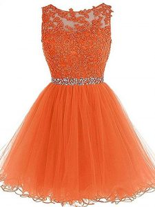 Enchanting Mini Length Orange Tulle Sleeveless Beading and Ruffles