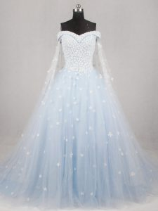 Modern Appliques Wedding Dresses Light Blue Lace Up Sleeveless Watteau Train