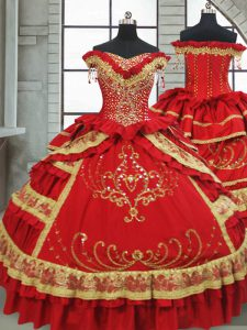 Cap Sleeves Beading and Embroidery and Ruffled Layers Zipper 15th Birthday Dress