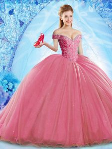 Deluxe Off The Shoulder Sleeveless Brush Train Lace Up Quinceanera Dresses Coral Red Organza
