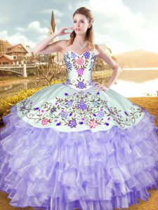 Fitting Lavender Sleeveless Embroidery and Ruffled Layers Floor Length Vestidos de Quinceanera