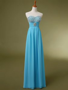 Discount Sleeveless Floor Length Beading and Ruching Lace Up Prom Dresses with Baby Blue