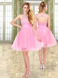 Romantic Mini Length Pink Organza and Chiffon Sleeveless Beading
