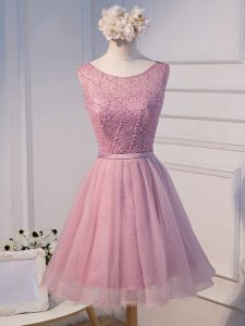 Noble Pink Scoop Neckline Beading and Belt Cocktail Dresses Sleeveless Lace Up