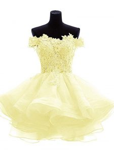 Classical Off The Shoulder Sleeveless Prom Dresses Mini Length Beading and Lace and Appliques and Ruffles Light Yellow Organza
