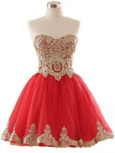 Affordable Red Sleeveless Tulle Lace Up Homecoming Dress for Prom and Party and Sweet 16