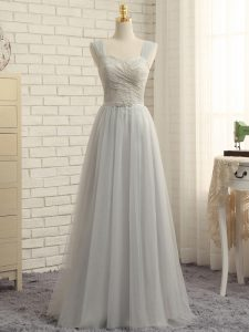 Floor Length Grey Dama Dress for Quinceanera Straps Sleeveless Sweep Train Zipper
