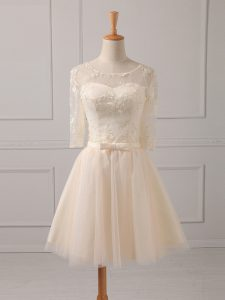 Custom Designed Tulle Half Sleeves Mini Length Quinceanera Court of Honor Dress and Lace and Belt