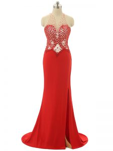 Red Prom and Party and Military Ball with Beading High-neck Sleeveless Brush Train Backless