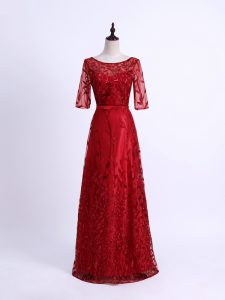 Red Mother of Bride Dresses Prom and Party and Military Ball and Sweet 16 with Lace Scoop Half Sleeves Lace Up