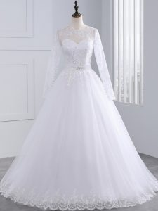 Stunning White Zipper Scalloped Lace and Appliques Wedding Gowns Tulle Long Sleeves Brush Train