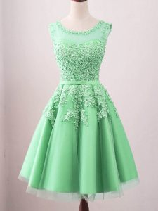 Modest Green Lace Up Vestidos de Damas Lace Sleeveless Knee Length