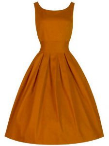 Orange Scoop Neckline Ruching Wedding Guest Dresses Sleeveless Lace Up