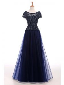 Tulle Scoop Short Sleeves Lace Up Beading Womens Evening Dresses in Navy Blue