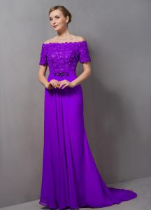Exquisite Chiffon Short Sleeves Mother of Groom Dress Sweep Train and Lace