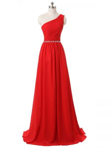 Attractive Red Empire Beading and Ruching Damas Dress Side Zipper Chiffon Sleeveless Floor Length