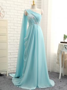 Charming Aqua Blue Sleeveless Brush Train Beading and Ruching Dama Dress