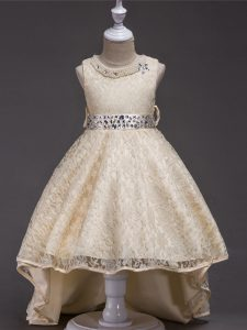 Custom Design High Low Champagne Kids Formal Wear Lace Sleeveless Beading