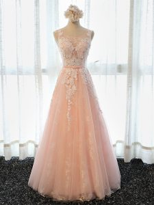 Scoop Sleeveless Lace Up Dress for Prom Peach Tulle