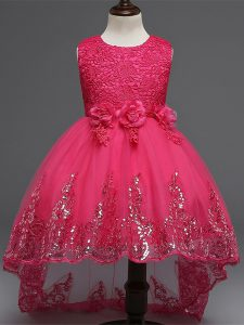High Low Hot Pink Little Girls Pageant Gowns Tulle Sleeveless Lace and Appliques and Bowknot and Hand Made Flower