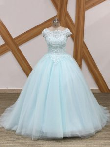 Latest Scoop Sleeveless Tulle Quinceanera Dresses Beading and Lace Brush Train Zipper