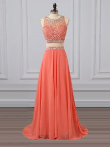 Two Pieces Sleeveless Watermelon Red Prom Gown Brush Train Zipper